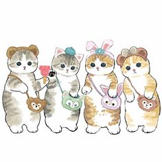 Weird Pictures, Team Pictures, Cute Food Drawings, Cute Animal Illustration, Watercolor Cat, Korean Art, Kawaii Art, Cute Creatures, Cat Drawing