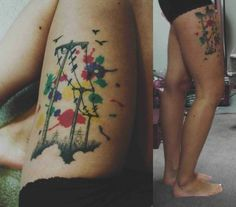 Birds on a wire thigh tattoo tattoos. I'm digging thigh tattoos lately!