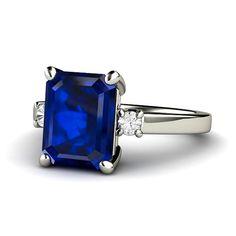 Blue Sapphire Engagement Ring Emerald 3 Stone Sapphire Ring Diamond in 14K or Palladium Custom Bridal Jewelry on Etsy, $2,051.14 CAD