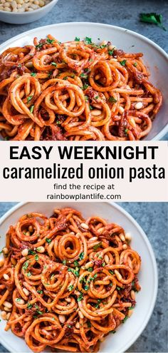 The Best Weeknight Vegan Pasta Made with quick caramelized onions and a combination of everyday pantry staples, this Caramelized Onion Pasta is the most flavorful vegan pasta you will ever try! Vegan and budget-friendly! Vegan Dinner Recipes, Vegan Dinners, Whole Food Recipes, Vegetarian Recipes, Cooking Recipes, Healthy Recipes, Weeknight Dinners, Quick Pasta Recipes, Vegetarian Kids