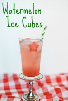 Use frozen watermelon instead of ice cubes for those summer drinks.  It's even more fun when you cut the watermelon into fun shapes, like these stars for the 4th of July.