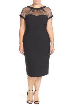 78bb690d18241 Main Image - Maggy London Illusion Yoke Crepe Sheath Dress (Plus Size)