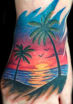 Freehand beach sunset and palm trees by Ainslie Heilich at Vintage Karma Tattoo…