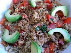 just made this for dinner.  it's AMAZING. quinoa with tomatoes, basil and avocado.