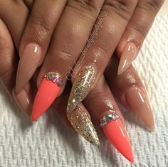 Nude and coral stiletto nails