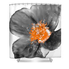 Awesome Grey Orange Poppy Shower Curtain,White Gray Flower,Floral Bathroom Curtain,Bathroom  Decor,Accessories,Designer Flower Shower Curtain