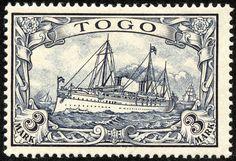 """Togo 1900 Scott 18 3m black violet """"Hohenzollern"""""""