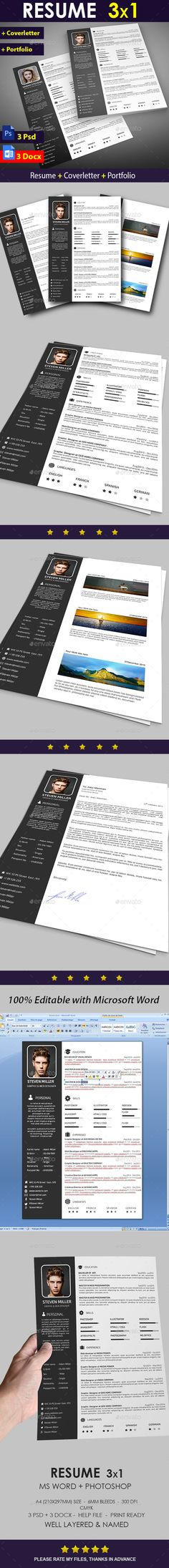 Clean Resume Download%0A Supernova Resume CV Set   Resume cv  Cv template and Simple resume template
