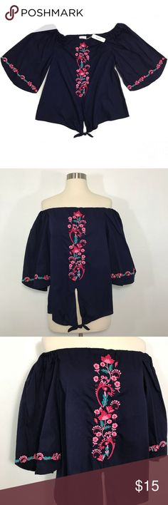 NWT Off The Shoulder Blouse • Boho navy blouse with floral embroidery. Charming Charlie Tops Blouses