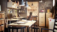 IKEA office space. Gray walls + blonde wood tones. Like the workshop space - garage makeover?