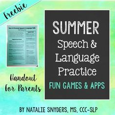 Summer Speech-Language Therapy Ideas for Parents Handout FREEBIE
