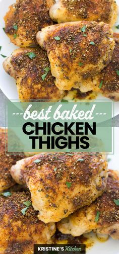 The Best Crispy Baked Chicken Thighs! Easy oven baked chicken thighs that are crispy on the outside and tender and juicy on the inside. Use bone in or boneless skinless chicken thighs. These easy baked chicken thighs are perfectly seasoned and perfectly crispy! #chickenthighs #chickenrecipes Easy Baked Chicken Thighs, Easy Oven Baked Chicken, Baked Ranch Chicken, Easy Healthy Recipes, Quick Easy Meals, Easy Dinner Recipes, Weeknight Recipes, Easy Dinners, Dinner Ideas