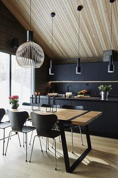 Modern Grey Kitchen, Grey Kitchen Designs, Modern Interior, Home Interior Design, Modern Decor, Bohinj, Cabin Interiors, Futuristic Furniture, Log Homes