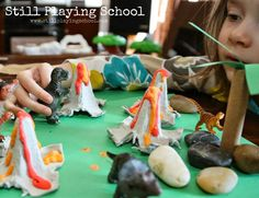 Learn how kids can make their own volcanoes for small world dinosaur play!
