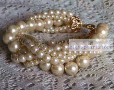 dark gray pearl BraceletGlass Pearl от glasspearlstore на Etsy