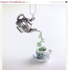 CIJ Sale 10% OFF Silver Teapot Cup, Green Tea Pendant Necklace, Jewelry Fashion, Green Swarovski Crystal, Gift for Her  $27