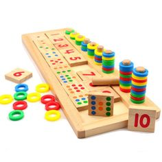 Cheap domino game, Buy Quality toy squid directly from China toy utensils Suppliers: BOHS Montessori Rainbow Rings Dominos Children Preschool  Teaching Aids Counting and Stacking Board Wooden Math Toy