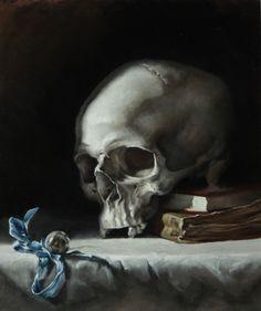 """Memento Mori"" oil on canvas - Rae Perry Action Painting, Crane, Memento Mori Art, Dance Of Death, Danse Macabre, Irish Art, Grim Reaper, Skull And Bones, Skull Art"