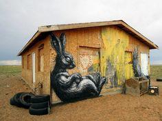 Street Art Artist ROA for 'The Painted Desert Projects'