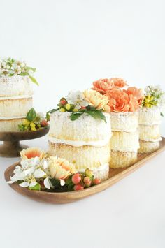 Make mini 'naked' cakes' by Minted/Julep, from the 20 Best Non-Naff and Totally Cool Mother's Day Craft Projects, via WeeBirdy.com.