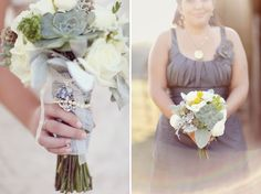 Bouquet with gray dress  -- I'm thinking of giving the bridesmaids' bouquets a touch of gray foliage.
