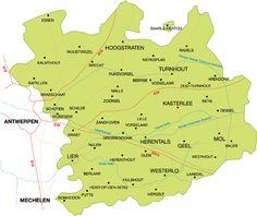 Overzichtskaart van de regio Antwerpse Kempen