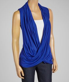 Look what I found on #zulily! sun n moon Royal Blue Lace-Back Crisscross Drape Top by sun n moon #zulilyfinds