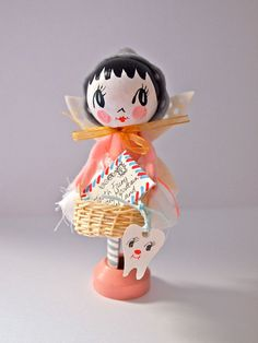 Hand painted wooden peg doll decoration tooth fairy