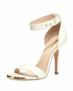 Pour la Victoire Yaya Leather Ankle-Wrap Sandal, Ivory