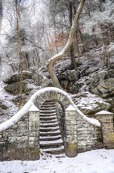 Wissahickon Steps In The Snow, by Bill Cannon. Wissahickon Valley Park, Philadelphia, Pennsylvania.