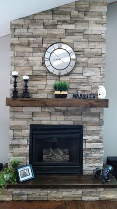 What a sweet floating mantel! Does your fireplace need a remodel? Check out the options we have for you on our website! What a sweet floating mantel! Does your fireplace need a remodel? Check out the options we have for you on our website! Fireplace Redo, Farmhouse Fireplace, Fireplace Remodel, Living Room With Fireplace, Fireplace Design, Fireplace Ideas, Fireplace With Stone, Rustic Fireplace Mantels, Mantel Ideas