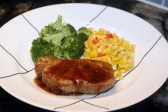 Balsamic and Brown Sugar Pork Chops  4 thick cut pork chops 1 tablespoon olive oil ¼ cup brown sugar 2 tablespoons balsamic vinegar 1 ...