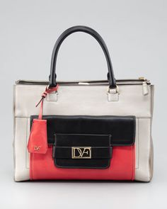 Eva Colorblock Tote Bag, Sand/Black/Coral at CUSP.