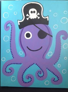 Purple Pirate Octopus Undersea Acrylic Painting on Canvas for Child's Room or Nursery Decor - Boy or Girl.  $40