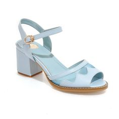 AmoonyFashion Women's Open Toe Low Heel PU Soft Material Solid Sandals with Hollow Out >>> Check out this great product.
