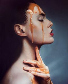 Sensual Photo Realistic Paintings Of Women Covered In Honey & Chocolate by Mike Dargas.|CutPasteStudio|Illustrations, Entertainment, beautiful,creativity, Art, Artwork, Artist, drawings, painting, oil painting.
