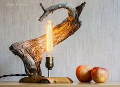 Wood lamps - When searching for a lamp for your home, your options are almost limitless Discover the most suitable living room lamp, bedroom lamp, table lamp or any other type for your particular room FloorLamp Tall Lamps, Large Lamps, Lampe Industrial, Edison Lampe, Driftwood Lamp, Rustic Lamps, Bedroom Lamps, Unique Lamps, Bedside Lamp