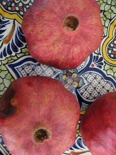 Pomegranates having healthy, uplifting fave. foods and herbs around house, and mindful cooking.