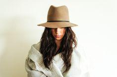 Tan Wool Felt Hat by Janessa Leone
