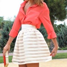 striped skirt and coral shirt