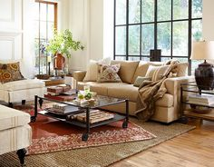 Traditional Style Living Room With Carpet Pottery Barn Area