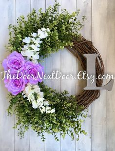 Lilac Rose Wreath  Everyday Wreath with by TheDoorNextDoor on Etsy