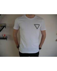 T-shirt au logo Visual Paris (triangle) - Blanc - 100% coton bio - Homme