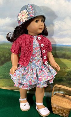 American Girl Clothes, Girl Dolls, Doll Clothes, Picnic, Girl Outfits, Crochet Hats, Basket, Fashion, Baby Clothes Girl