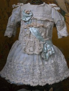 Doll dress, w beautiful antique laces!