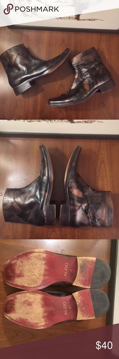 Aldo Leather Square Toe Mid-Calf Boot - 8 Aldo Leather Square Toe Mid-Calf Boot  Great condition. The western Cowboy style boot tapers down it's southern charm with a shorter, slimmer ankle fit. In embossed leather.  - Worker boot - Closed square toe  Upper: Leather Lining: Cotton Sole: Rubber Aldo Shoes Boots