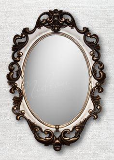 Овальное зеркало «Винтажное»  Венге Слоновая кость Золото Кракелюр