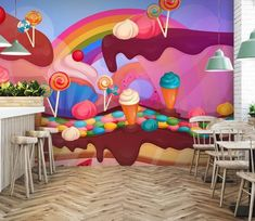 From cartoons to wild fields & majestic waterfalls, redesign your living space with AJ Wallpaper's amazing selection of wall murals. Custom Wall Murals, 3d Wall Murals, Graffiti Wall Art, Paper Wallpaper, Custom Wallpaper, Cake Shop Design, Boutique Patisserie, Rainbow Waffles, 3d Wall Painting