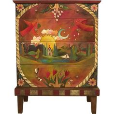 "Sticks creates this artistic one-of-a-kind cabinet constructed of hard wood. Hand drawn whimsical designs are burnt in, and then painted. * Size: 23""D. x 38""W. x 86""H. * Signed, Dated Anything you can"