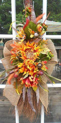 Burlap-Barn-Broom-Cottage-Country-SUMMER-Sunflower-WREATH-Fall-BaRn-SpArKLe